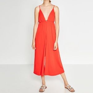 Zara Red V Neck Jumpsuit, SZ Small